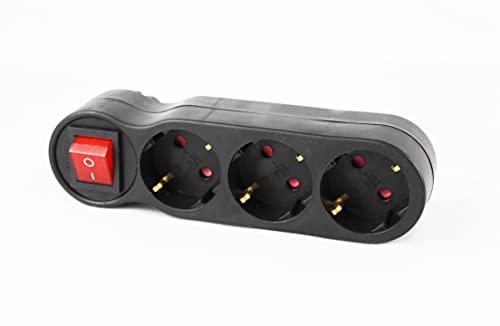 Adaptador con 1 interruptor y 3 enchufes schuko color negro 16A/250V~ MAx.3680W.