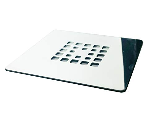 Rejilla cuadrada de 12 X 12 cm en acero inoxidable para platos de ducha de resina,pizarra,mármol,piedra