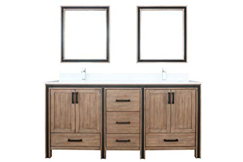 Buy Bargain Lexora 72 Rustic Barnwood Double Vanity, Cultured Marble Top, White Square Sink and 30...