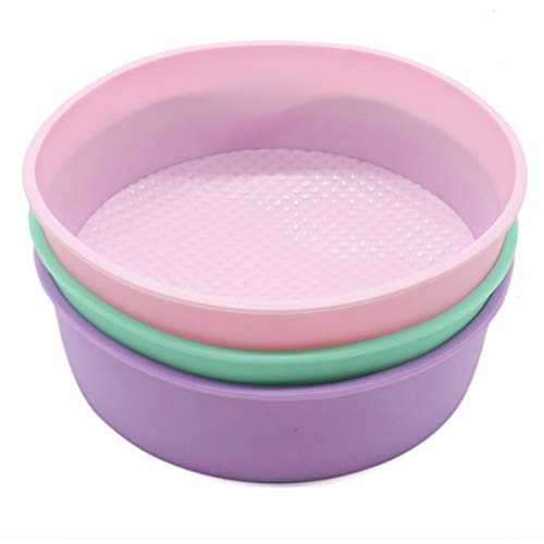 JETEHO 8-Inch Silicone Round Cake Pan Baking Mold,BPA Free, Non-Stick Silicone,Pack of 2