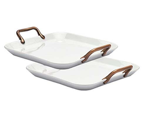 Denmark White Porcelain Chip Resistant Serveware Platter Serving Bowls with Copper Handles Set of 2 Square Serving Trays