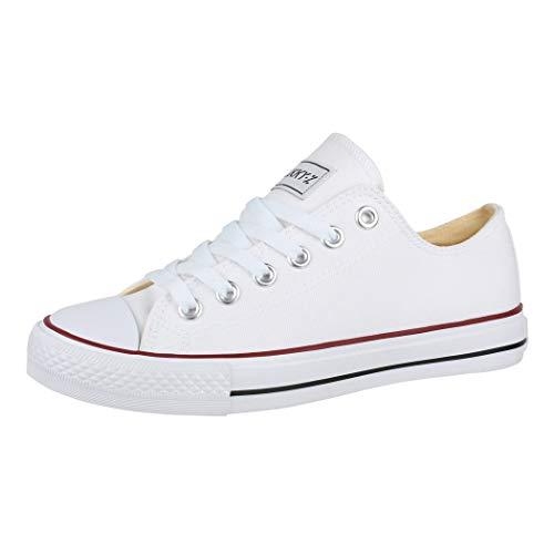 Elara Unisex Sneaker Low top Turnschuh Textil Chunkyrayan 36-46 01-A-Weiss-40