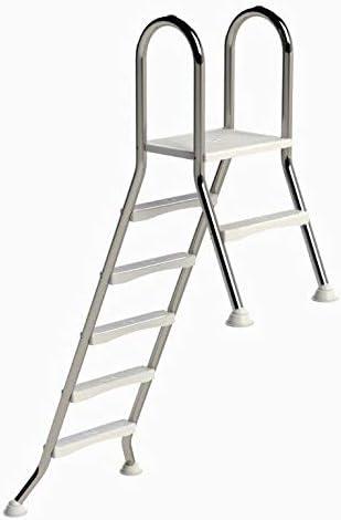 Escalera de piscina alta de acero inoxidable de well2wellness®, 5 + 1 peldaños (1,50 m/0,4 m)