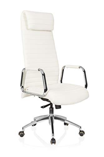 hjh OFFICE 600902 Chefsessel ASPERA 20 Nappaleder Weiß/Chrom Bürostuhl mit hoher Rückenlehne
