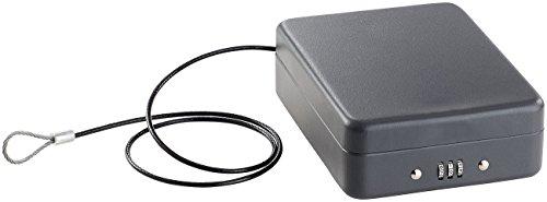 Xcase Reisetresor: Mini-Stahl-Safe für Reise & Auto, Zahlenschloss, Sicherungskabel, 1 l (Stahlsafe)