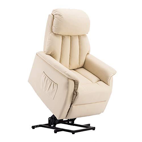 MCombo Elektrisch Aufstehhilfe Fernsehsessel Relaxsessel elektrisch verstellbar 7299 (Creme)