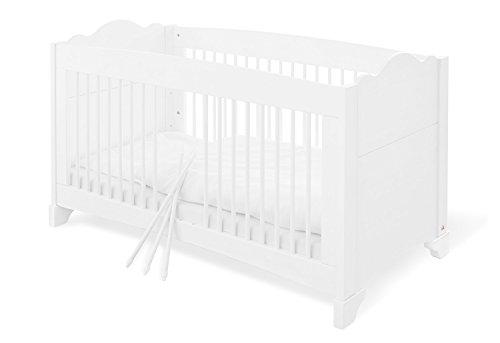 Pinolino 111642 romantique, solide, lit pour enfant avec 3 barreaux, en pin vollmassiver, rénovation pages inclus, 140 x 70 cm, lasuré blanc