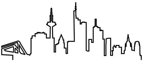Samunshi® Frankfurt Skyline Wandtattoo Silhouette Frankfurt schwarz 120x50cm
