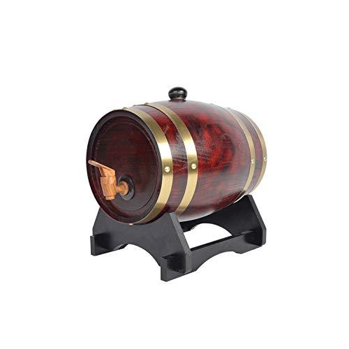 Roble Barril 3L/5L/10L Barril De Madera Vintage Roble Dispensador De Vino Dispensador De Agua De Madera Estante De Madera Almacenamiento Whisky Vinagre De Vino Cerveza(Botellero Gratis)(Size:10L)