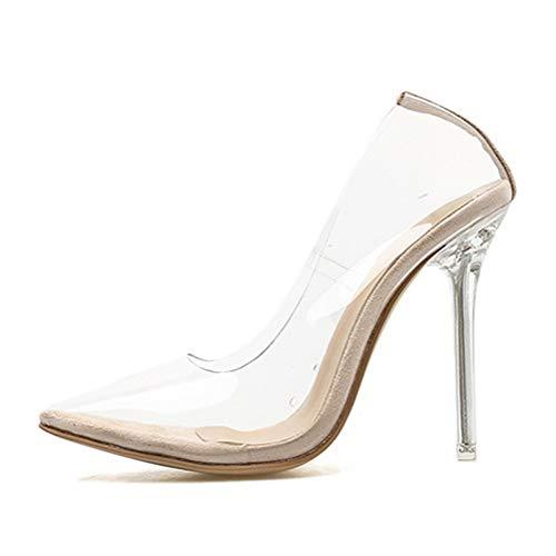 Tomwell Damen Pumps mit Hohen Spitze Stiletto-Absatz Transparente Perspex High Heels Rutsch Stiletto Party Hochzeit Schuhe A Aprikose 41 EU