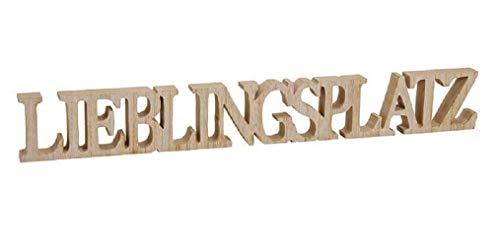 Schriftzug 60 x 8 cm Lieblingsplatz Holz Natur Buchstaben Deko