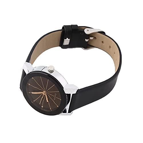 SENZHILINLIGHT Reloj de pulsera de moda hombre mujeres amantes pareja de lujo movimiento cuarzo aguja tiempo relojes banda de cuero