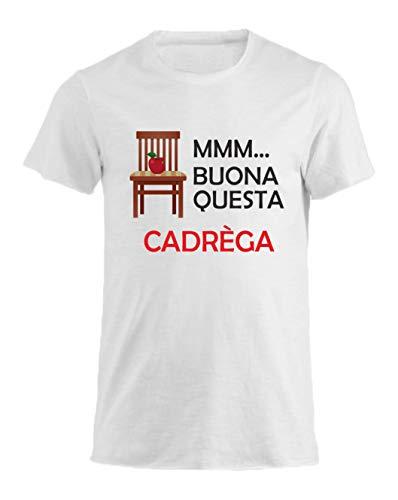 Vestin T-Shirt Uomo Cotone Fiammato Scollo Ampio a Taglio Vivo - Buona Questa cadrega - Divertente Humor Made in Italy (M, Bianco)