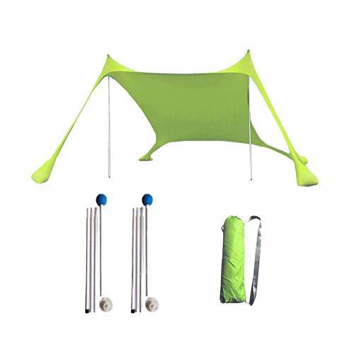 Floving Sombra de Playa con toldo para 4-5 Personas sombrilla portátil Anti-UV con Protector Solar para la Playa (Green)