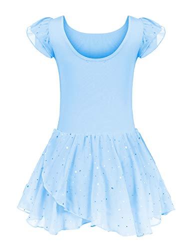 trudge Kinder Ballettkleidung Ballettkleid Mädchen Kurzarm Baumwolle Balletttrikot Ballettanzug Tanzkleid Tanzbody mit Rock Tütü, Blau B, 140