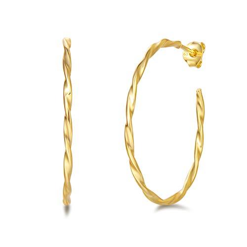 Pendientes de Aro Medio Grandes Retorcido Plata de ley 925 Chapada Oro Amarillo círculo Aretes Hoop con Tipo Criolla Joyas para Mujer Niñas - Diámetro: 40 mm