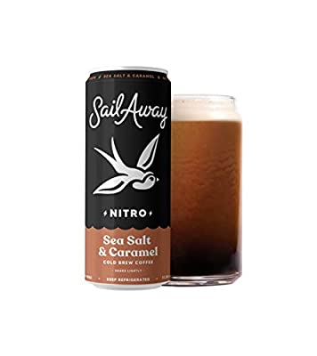 Sail Away Coffee Co. | Sea Salt & Caramel Nitro Cold Brew Coffee | Low Sugar, Gluten Free & Non-Dairy | Organic | Draft Nitrogen Pour, Clean Energy, Low Acidity | 11.5oz (24 pack)