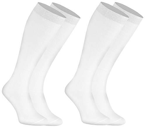 Rainbow Socks - Hombre Mujer Calcetines Largos de Bambu - 2 Pares - Blanco - Talla: EU 39-41