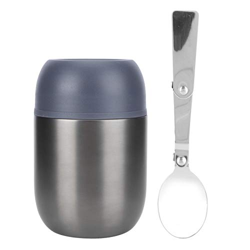 Recipiente de almuerzo con aislamiento gris Tarro de comida caliente multifunción portátil Reutilizable Fiambrera de vacío de acero inoxidable de doble pared para viajes de oficina escolar 500 ml
