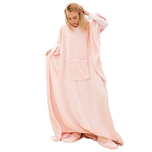 Wearable Snuggle Blanket, Spa, Bathrobe, Sweatshirt, Men Fleece Pullover, Women Blanket, 123cm x 212cm,Pink,one