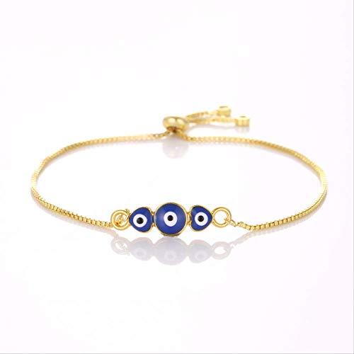 Nobrand Glückliches Auge Gold Herz Blau Böses Auge Armband Charme Trendy Einstellbar Für Frau Liebe Schmuck Geschenk
