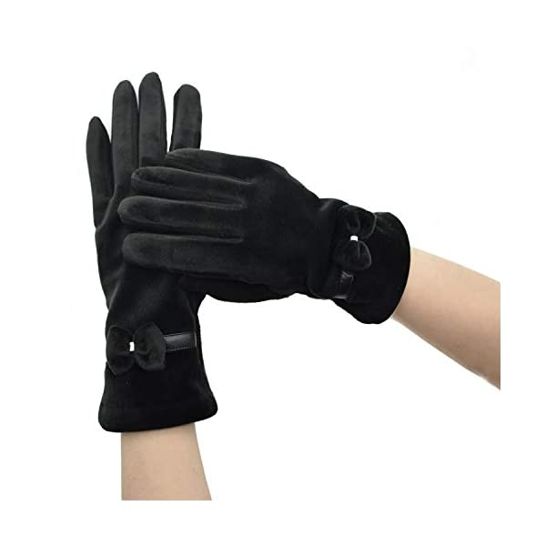 BOTINDO Winter Touch Screen Thick Fleece Lined Warm Gloves-Bowknot Accessary Women's Windproof Gloves