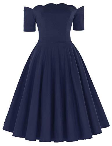 PAUL JONES Women's Retro Off Shoulder Dress Knee-Length Dress for Party S Navy