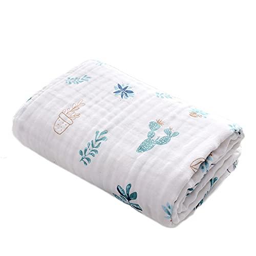 Manta de muselina para bebé de 6 capas, manta de bebé recién nacido, 110 x 110 cm, toalla de baño grande de algodón suave para niños y niñas (cactus)
