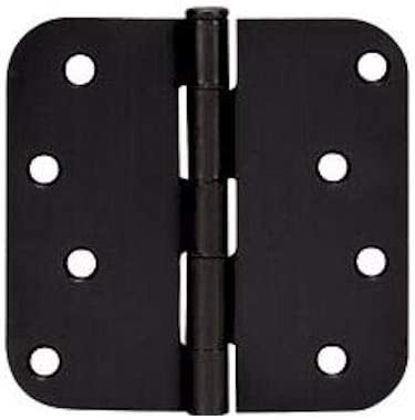 "12 Pack - Cosmas Flat Black Door Hinge 4"" Inch x 4"" Inch with 5/8"" Inch Radius Corners - 44074"
