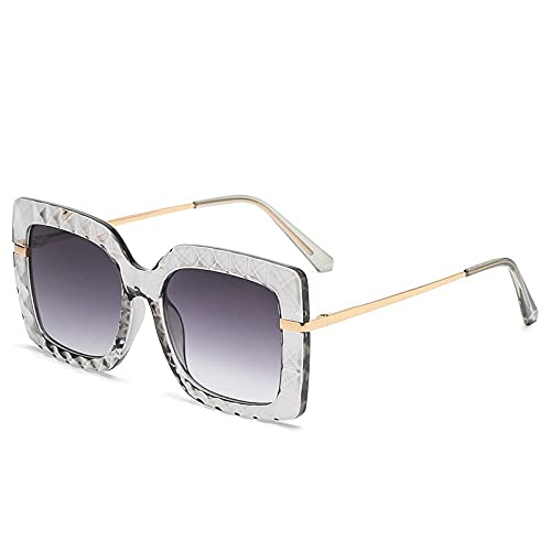 YHKF Gafas De Sol Cuadradas para Mujer Gafas De Sol De Gran Tamaño Montura Grande Gafas De Moda Vintage Uv400 Mujer-Gris