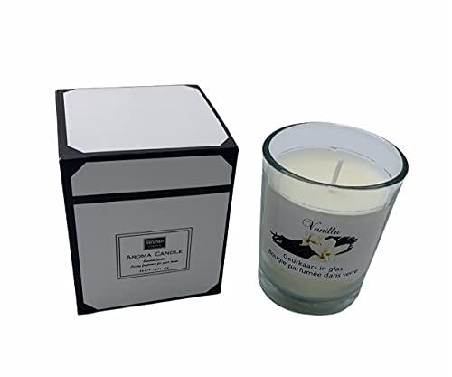 Vela aromática ecológica vaso de cristal Vela decorativa Vela perfumada vela de cera ecológica aromática vela aromática rosas regalo vela aromática vainilla antitabaco(VAINILLA)