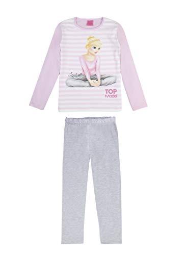 Top Model Niña Pijama, Ropa de Noche, en Dos Partes: T-Shirt/Manga Larga y Pantalones, Rosa, Talla 128, 8 años