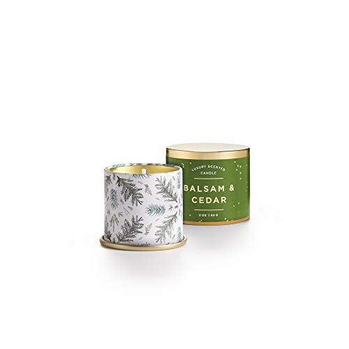 Illume Noble Holiday Collection Balsam & Cedar Demi Vanity Tin, 3 oz Candle