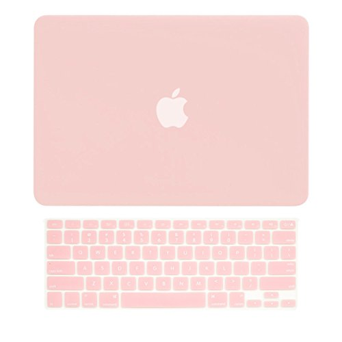 TOP CASE - 2 in 1 Signature Bundle Rubberized Hard Case and Keyboard Cover Compatible Old Generation MacBook Pro 13-Inch (13' Diagonally) with CD-ROM/DVD Drive A1278 - Rose Quartz