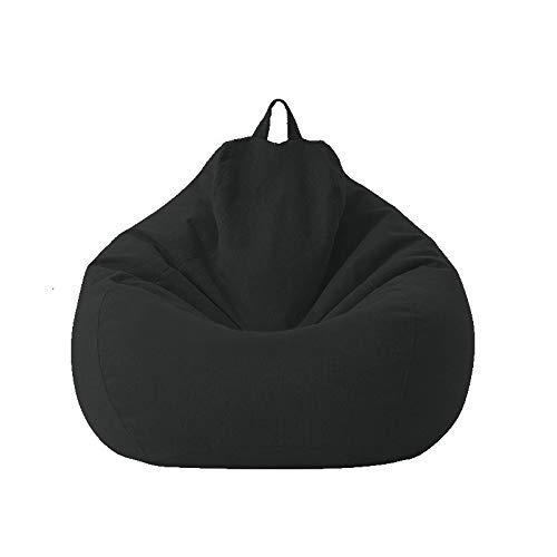 Groß Klein Faule Sofa-Abdeckung Stuhl ohne Padded Leinen Lehnstuhl Sitzsack Sofa Tatami Wohnzimmer (Color : Black, Size : 80X90)