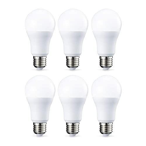 Amazon Basics Lampadina LED E27, 10.5W (equivalenti a 75W), Luce Bianca Calda - Pacco da 6