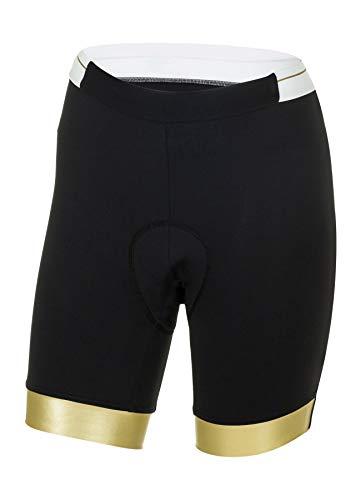 Zero RH+ Preppy W Short, Abbigliamento Woman Bike Bib & Pant Donna, Black/White/Gold, L