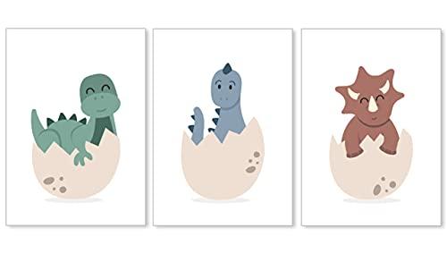 DANHOL - Cuadros Infantiles para Habitación Niño y Niña A4 - Set 3 Laminas Infantiles Dinosaurios, Cuadros para Bebes, Decoración Habitación Bebe