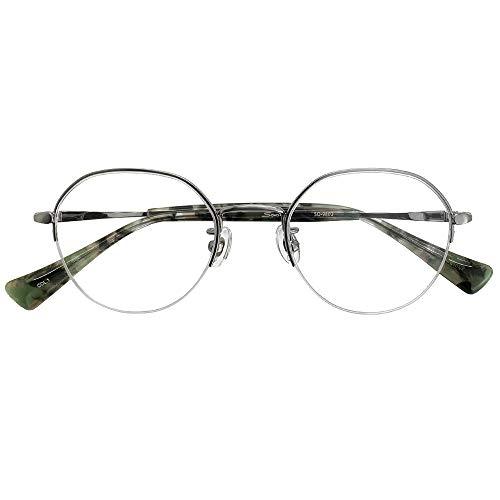 ブルーライトカット UVカット 遠近両用メガネ ソーホーズクラシック SO-9802 (シルバー) (レディースセット) 全額返金保証 境目のない 遠近両用 老眼鏡 (瞳孔間距離:男性平均62mm〜64mm, 近くを見る度数:+1.0)