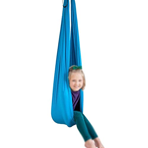Therapy Swings for Sensory Indoor, Cuddle Hammock Adjustable Aerial Yoga, Cacoon for Children with Autism ADHD and Aspergers (Color : Lake blue, Size : 150x280cm/59x110in)