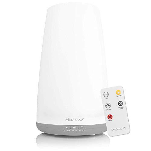 Medisana AH 670 Humidificador ultrasónico con compartimento de aromas y función de precalentamiento, nebulizador con mando a distancia para aire seco en el salón y el dormitorio, 1,8 litros