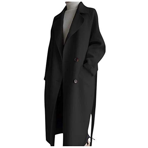 Winter Mantel für Damen Lang Blazer Doppelreihiger Wollmantel,Kanpola Warm Wintermantel BeiläUfige Business Blazermantel mit Taschen Lose Outwear Anzugjacke