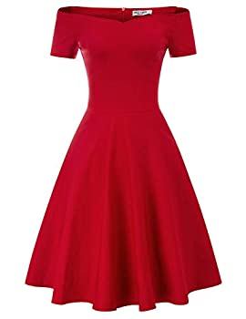 Women s Flared A-line Evening Dress Knee Length Size M Red CL020-2