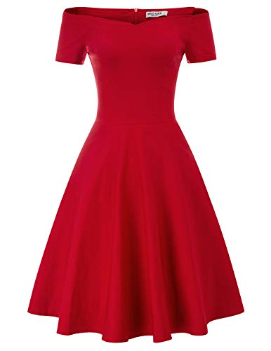 festliches Kleid Damen Knielang Audrey Hepburn Kleid Fashion Rockabilly Kleider CL020-2 S