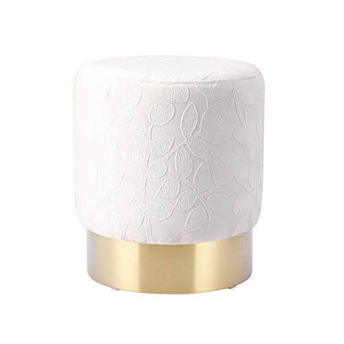 XBCDX Round Ottoman,pouffe Chic Vanity Stool Upholstered Footstool Nordic Home Decor Footrest With Gold Plated Base-white 40x40x45cm(16x16x18inch)