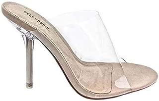 Cape Robbin Allure Women's Dressy Peep Toe Clear Transparent Strap Slip On Clear Heels - Nude