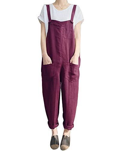 Mengyu Mengyu Damen Casual Overall Ärmellose Jumpsuit Playsuit Atmungsaktive Latzhose mit Taschen Dunkelrot S