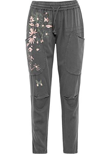 bonprix Coole Hose mit auffallendem Druck und großen Taschen grau Bedruckt knöchelfrei 38 für Damen