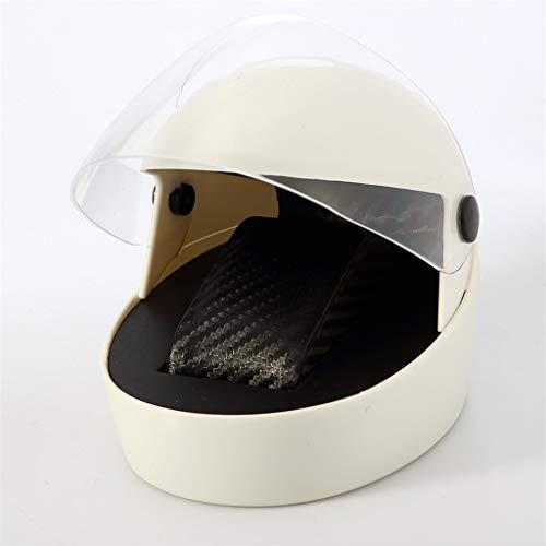 SHAMATE Caja De Almacenamiento De Reloj Individual De Plástico Con Puño De Cuero Pu Con Forma De Casco De Motocicleta Creativa (Color : White)