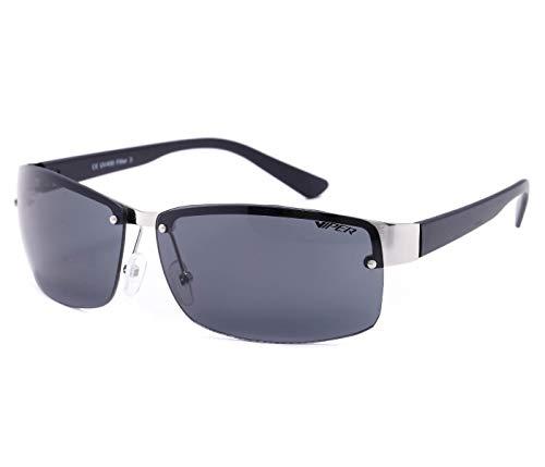 Alsino Lunettes de soleil légères sans monture avec protection UV 400 Viper Eyewear Collection dans différents modèles Unisexe, gris